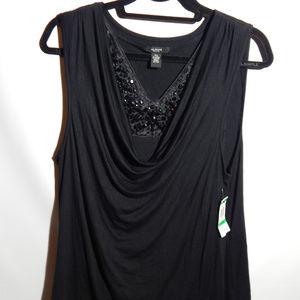 Alfani black beaded sleeveless shirt Size PS